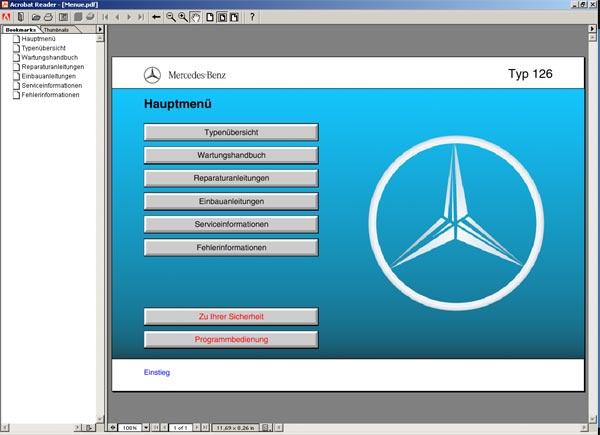 Mercedes w126 wis - werkstattinformation cd typ 126